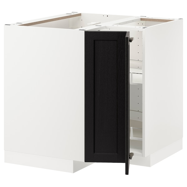METOD Corner base cabinet with carousel, white/Lerhyttan black stained, 88x88 cm