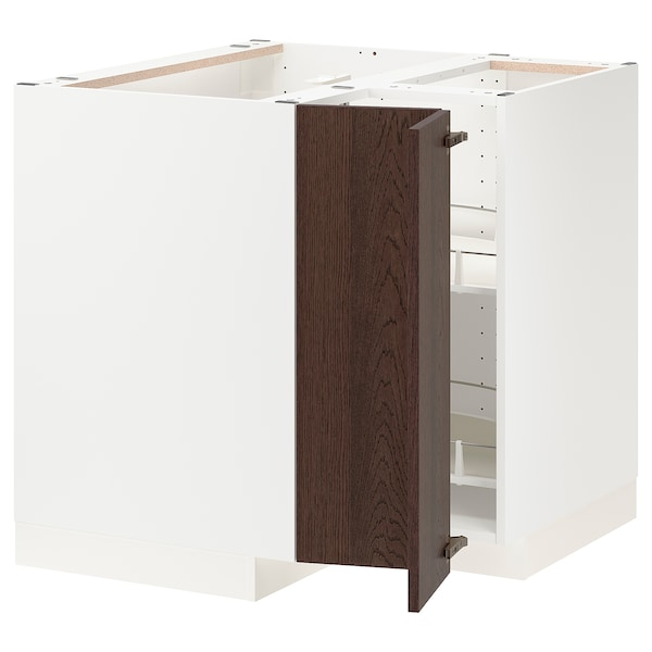 METOD Corner base cabinet with carousel, white/Sinarp brown, 88x88 cm