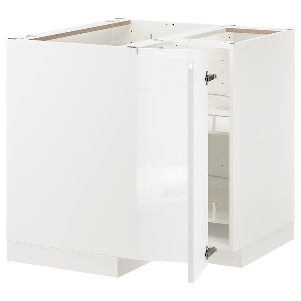 METOD Corner base cabinet with carousel, white/Voxtorp high-gloss/white, 88x88 cm