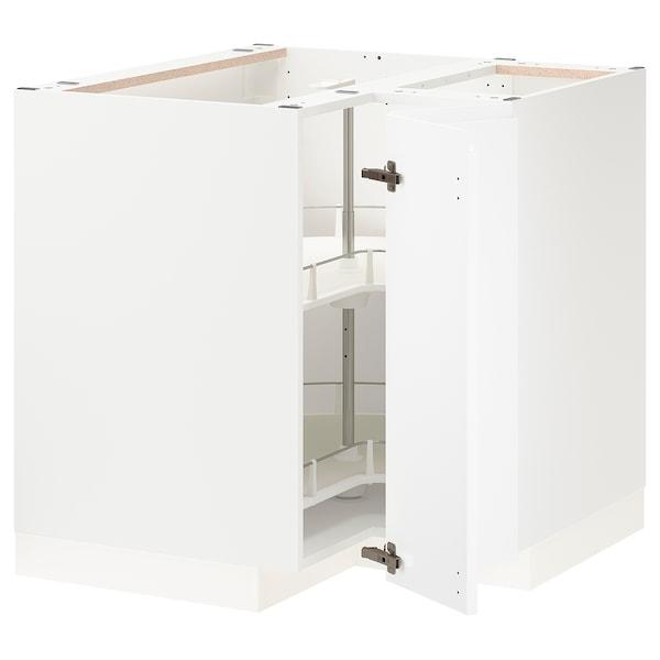 METOD Corner base cabinet with carousel, white/Voxtorp matt white, 88x88 cm