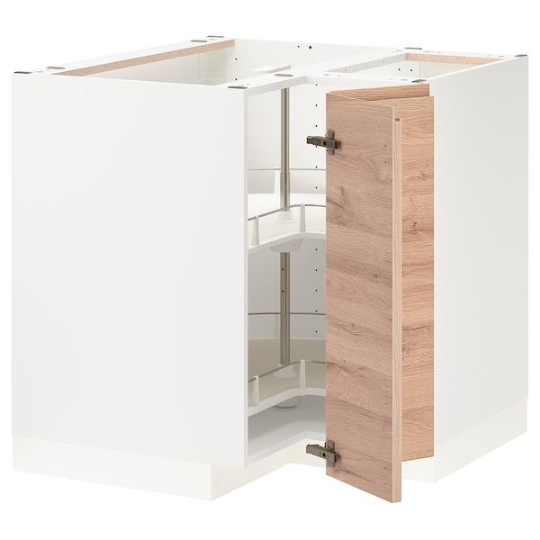 METOD Corner base cabinet with carousel, white/Voxtorp oak effect, 88x88 cm