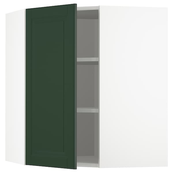 METOD Corner wall cabinet with shelves, white/Bodbyn dark green, 68x80 cm