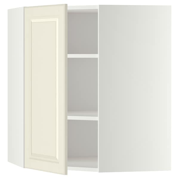 METOD Corner wall cabinet with shelves, white/Bodbyn off-white, 68x80 cm
