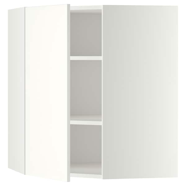 METOD Corner wall cabinet with shelves, white/Häggeby white, 68x80 cm