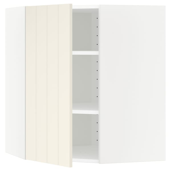 METOD Corner wall cabinet with shelves, white/Hittarp off-white, 68x80 cm