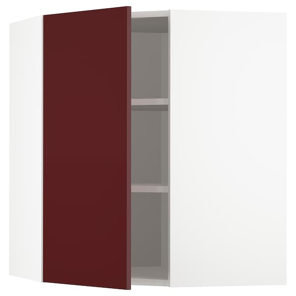 METOD Corner wall cabinet with shelves, white Kallarp/high-gloss dark red-brown, 68x80 cm
