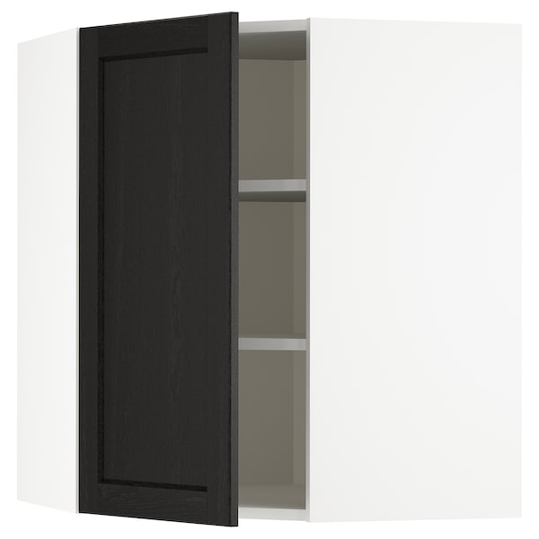 METOD Corner wall cabinet with shelves, white/Lerhyttan black stained, 68x80 cm
