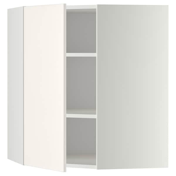 METOD Corner wall cabinet with shelves, white/Veddinge white, 68x80 cm