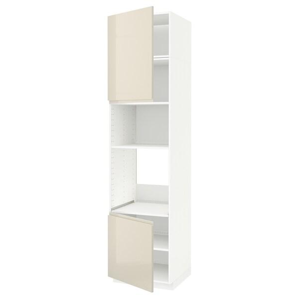 METOD hi cb f oven/micro w 2 drs/shelves white/Voxtorp high-gloss light beige 60.0 cm 62.1 cm 248.0 cm 60.0 cm 240.0 cm
