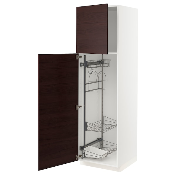 METOD High cabinet with cleaning interior, white Askersund/dark brown ash effect, 60x60x200 cm