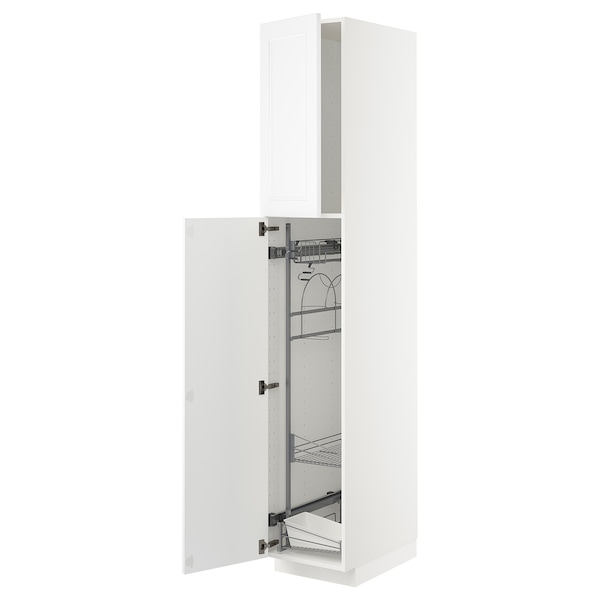 METOD High cabinet with cleaning interior, white/Axstad matt white, 40x60x220 cm