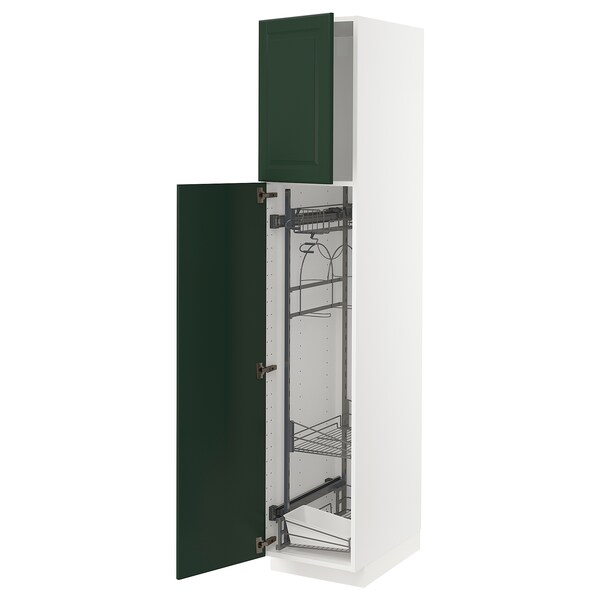 METOD High cabinet with cleaning interior, white/Bodbyn dark green, 40x60x200 cm