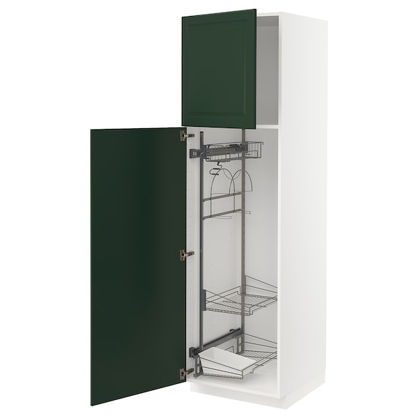 METOD High cabinet with cleaning interior, white/Bodbyn dark green, 60x60x200 cm