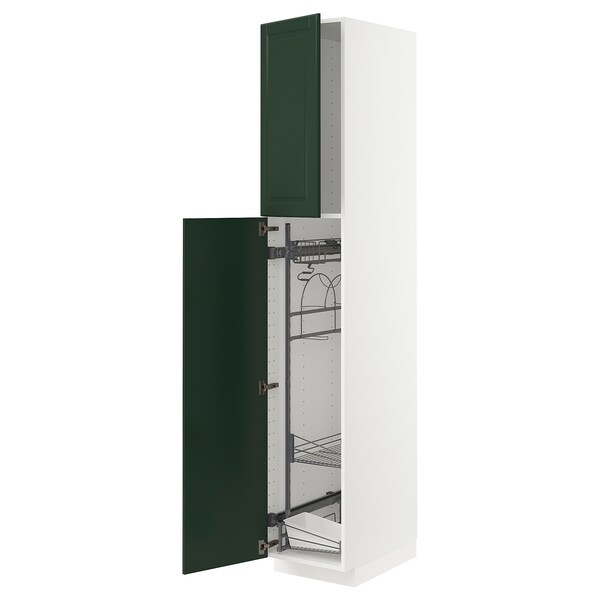 METOD High cabinet with cleaning interior, white/Bodbyn dark green, 40x60x220 cm