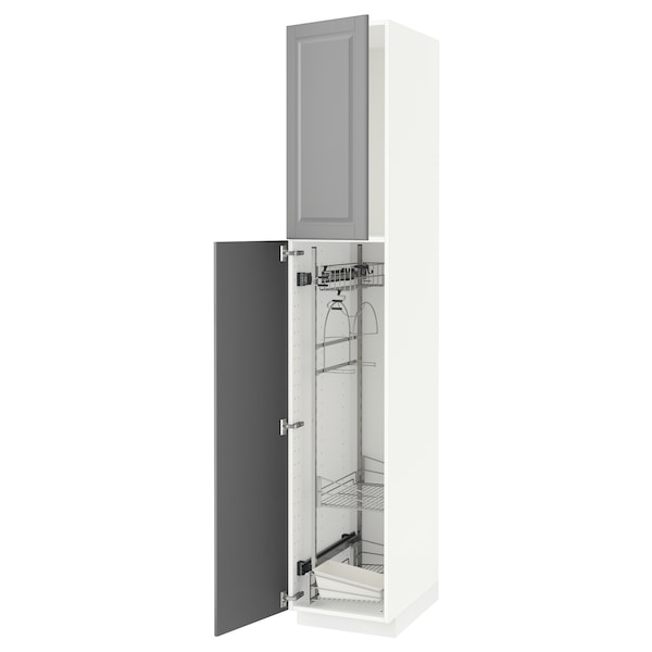 METOD High cabinet with cleaning interior, white/Bodbyn grey, 40x60x220 cm