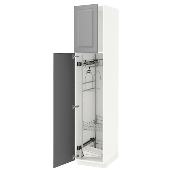 METOD High cabinet with cleaning interior, white/Bodbyn grey, 40x60x200 cm