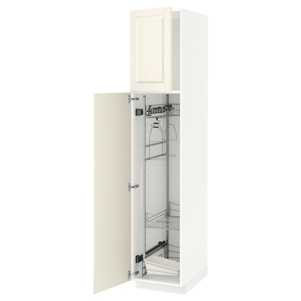 METOD High cabinet with cleaning interior, white/Bodbyn off-white, 40x60x200 cm