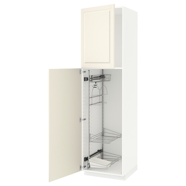 METOD High cabinet with cleaning interior, white/Bodbyn off-white, 60x60x220 cm
