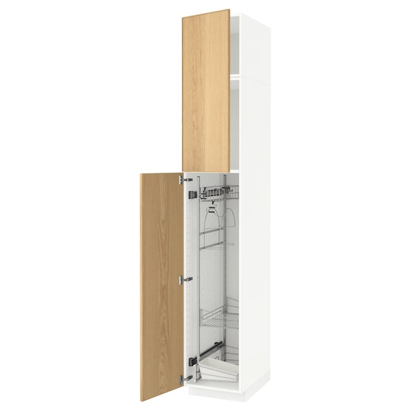 METOD High cabinet with cleaning interior, white/Ekestad oak, 40x60x240 cm