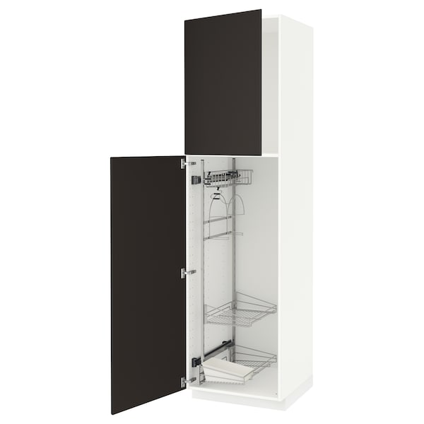 METOD High cabinet with cleaning interior, white/Kungsbacka anthracite, 60x60x220 cm