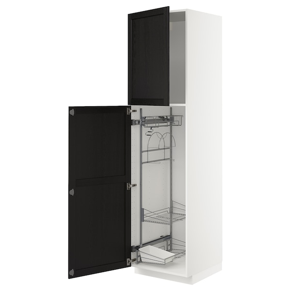 METOD High cabinet with cleaning interior, white/Lerhyttan black stained, 60x60x220 cm