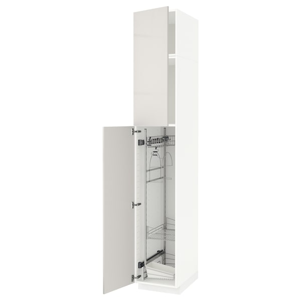 METOD High cabinet with cleaning interior, white/Ringhult light grey, 40x60x240 cm