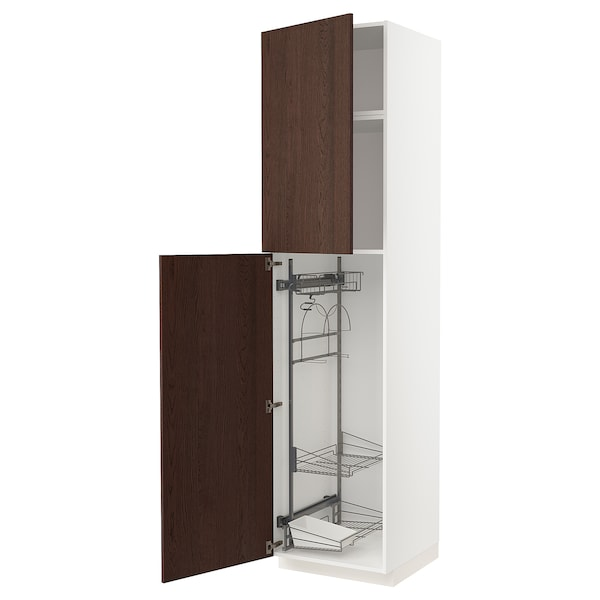 METOD High cabinet with cleaning interior, white/Sinarp brown, 60x60x240 cm