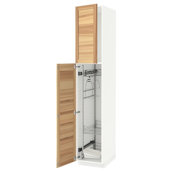 METOD High cabinet with cleaning interior, white/Torhamn ash, 40x60x220 cm