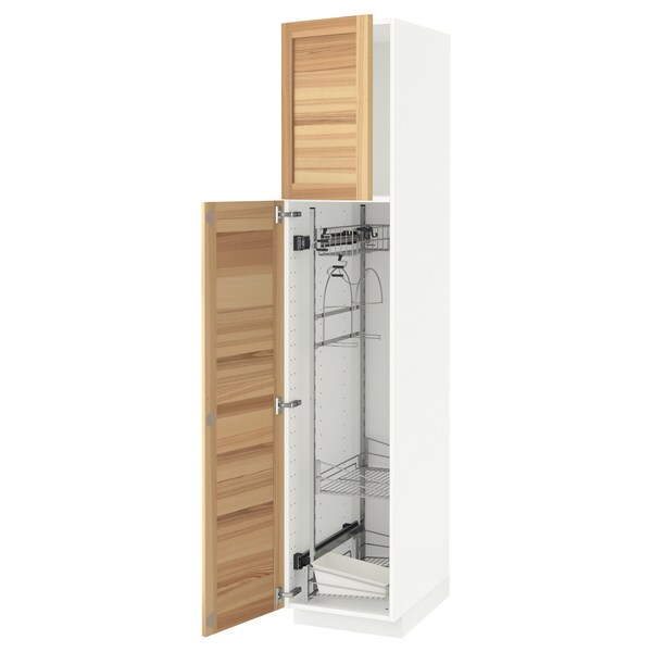 METOD High cabinet with cleaning interior, white/Torhamn ash, 40x60x200 cm