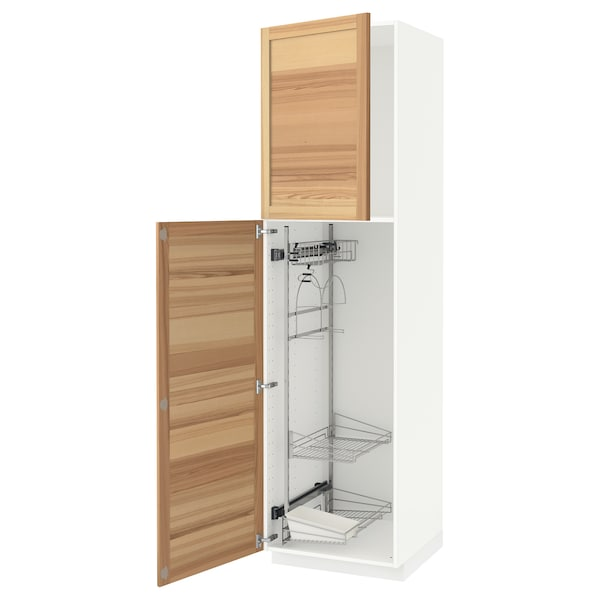 METOD High cabinet with cleaning interior, white/Torhamn ash, 60x60x220 cm