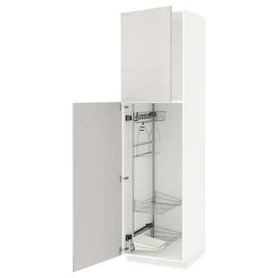 METOD high cabinet with cleaning interior white/Ringhult light grey 60.0 cm 61.8 cm 228.0 cm 60.0 cm 220.0 cm