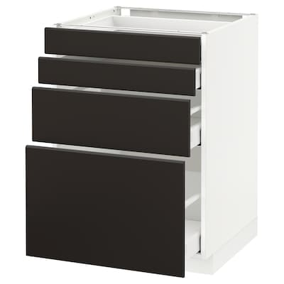 METOD / MAXIMERA Base cab 4 frnts/4 drawers, white/Kungsbacka anthracite, 60x60 cm