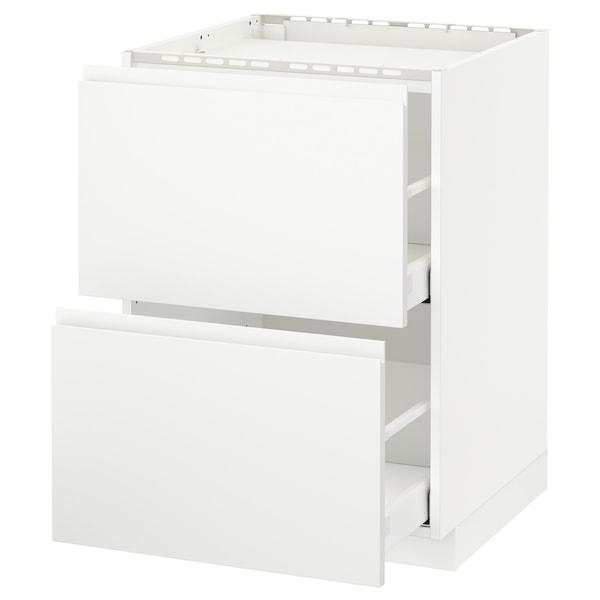 METOD / MAXIMERA Base cab f hob/2 fronts/2 drawers, white/Voxtorp matt white, 60x60 cm