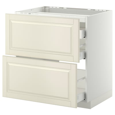METOD / MAXIMERA Base cab f hob/2 fronts/3 drawers, white/Bodbyn off-white, 80x60 cm