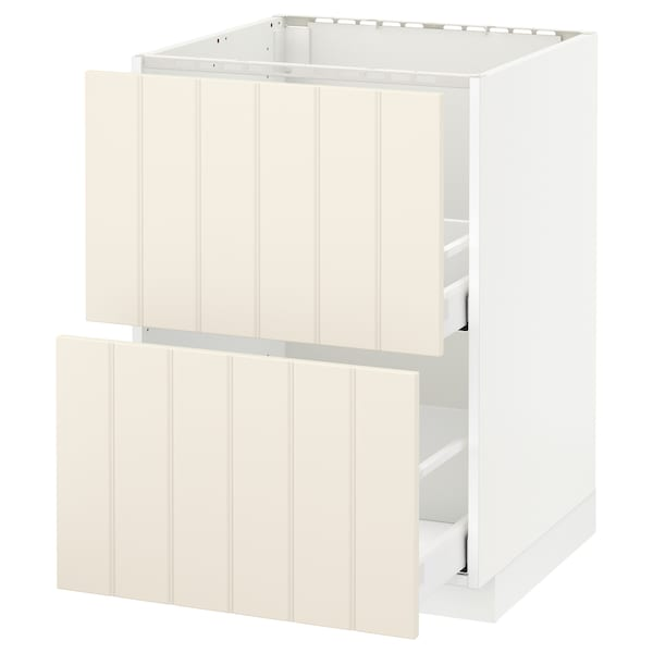 METOD / MAXIMERA base cab f sink+2 fronts/2 drawers white/Hittarp off-white 60.0 cm 61.8 cm 88.0 cm 60.0 cm 80.0 cm