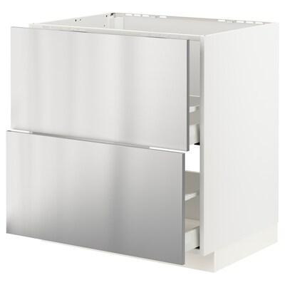 METOD / MAXIMERA base cab f sink+2 fronts/2 drawers white/Vårsta stainless steel 80.0 cm 61.6 cm 88.0 cm 60.0 cm 80.0 cm