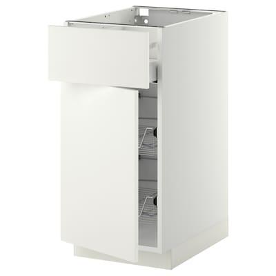METOD / MAXIMERA base cab w wire basket/drawer/door white/Häggeby white 40.0 cm 61.6 cm 88.0 cm 60.0 cm 80.0 cm
