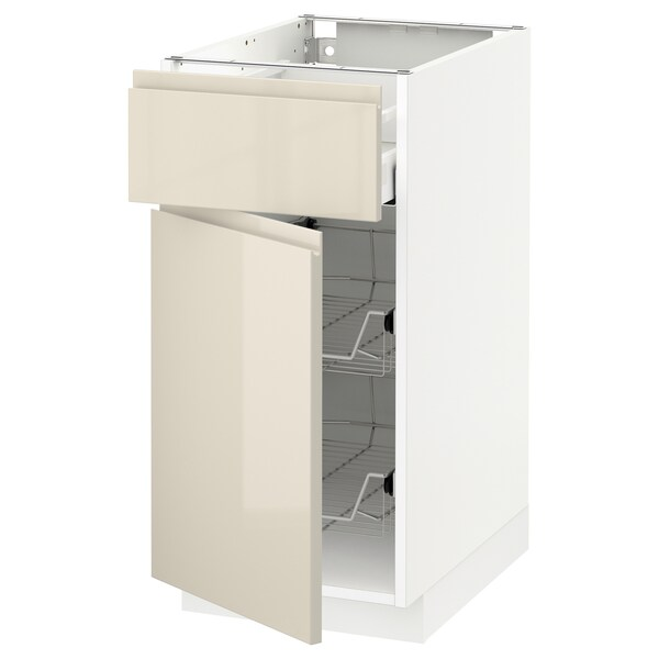 METOD / MAXIMERA Base cab w wire basket/drawer/door, white/Voxtorp high-gloss light beige, 40x60 cm