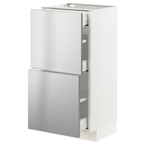 METOD / MAXIMERA Base cab with 2 fronts/3 drawers, white/Vårsta stainless steel, 40x37 cm