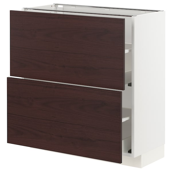METOD / MAXIMERA Base cabinet with 2 drawers, white Askersund/dark brown ash effect, 80x37 cm