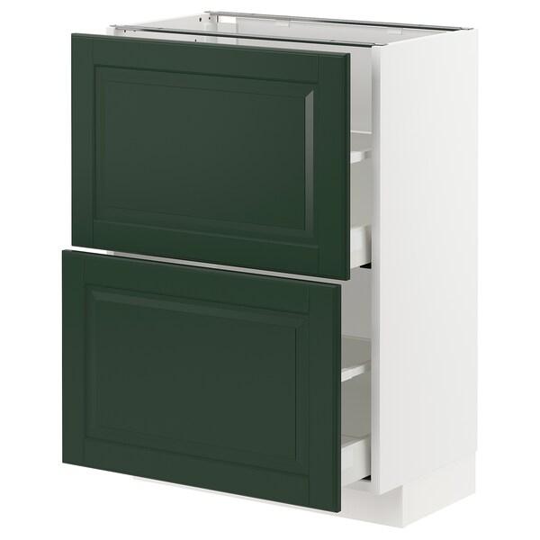 METOD / MAXIMERA Base cabinet with 2 drawers, white/Bodbyn dark green, 60x37 cm
