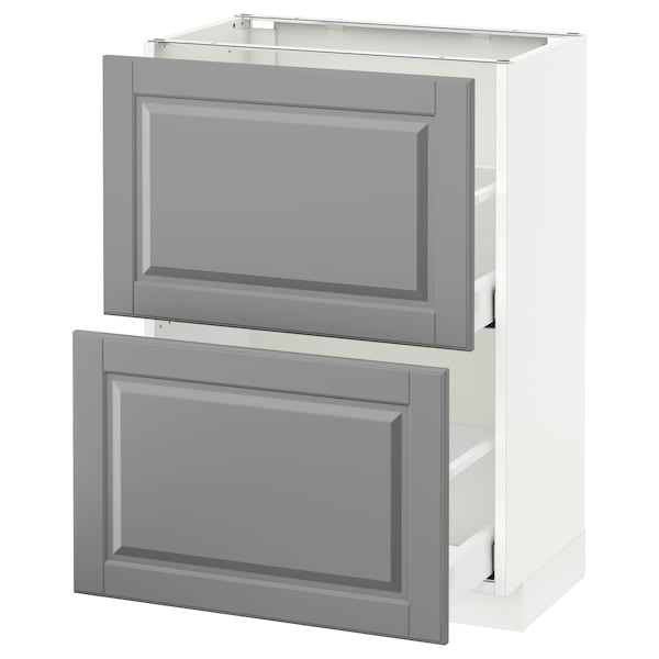 METOD / MAXIMERA Base cabinet with 2 drawers, white/Bodbyn grey, 60x37 cm