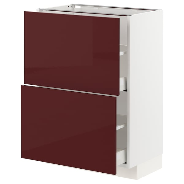 METOD / MAXIMERA Base cabinet with 2 drawers, white Kallarp/high-gloss dark red-brown, 60x37 cm