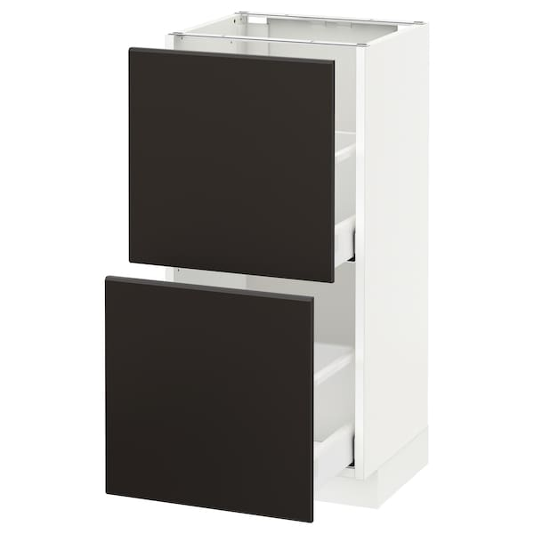 METOD / MAXIMERA Base cabinet with 2 drawers, white/Kungsbacka anthracite, 40x37 cm