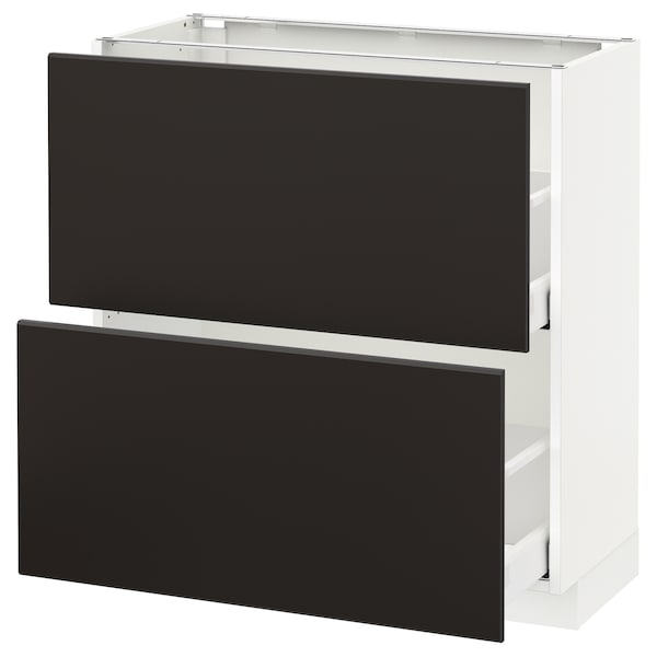 METOD / MAXIMERA Base cabinet with 2 drawers, white/Kungsbacka anthracite, 80x37 cm