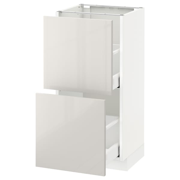 METOD / MAXIMERA Base cabinet with 2 drawers, white/Ringhult light grey, 40x37 cm