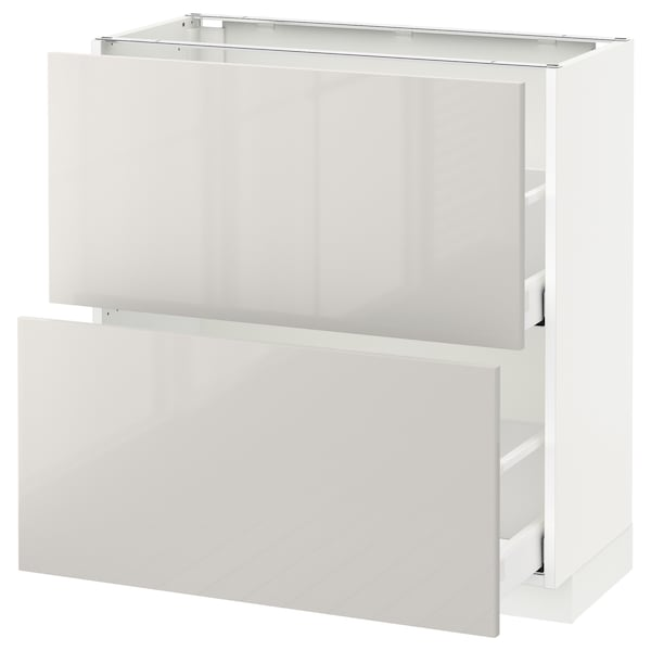 METOD / MAXIMERA Base cabinet with 2 drawers, white/Ringhult light grey, 80x37 cm