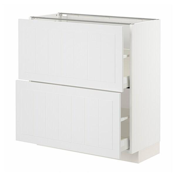 METOD / MAXIMERA Base cabinet with 2 drawers, white/Stensund white, 80x37 cm