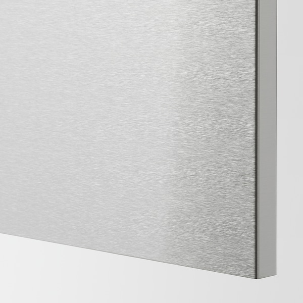 METOD / MAXIMERA Base cabinet with 2 drawers, white/Vårsta stainless steel, 40x37 cm