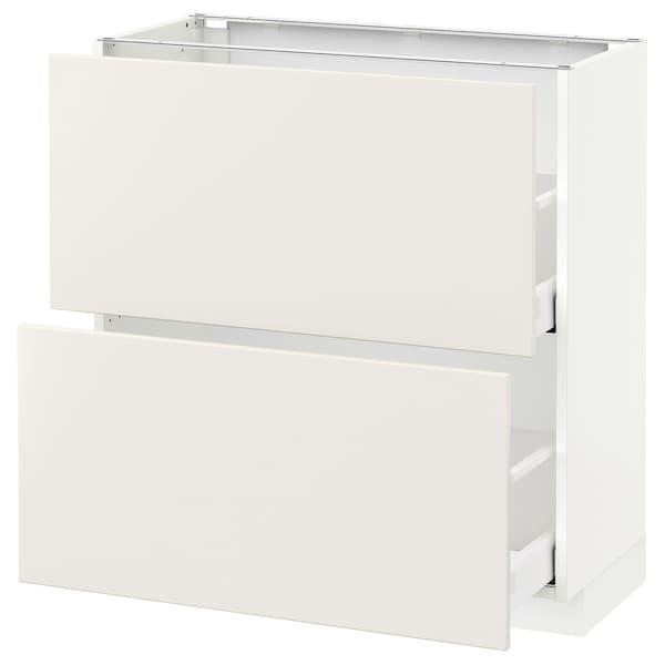 METOD / MAXIMERA Base cabinet with 2 drawers, white/Veddinge white, 80x37 cm